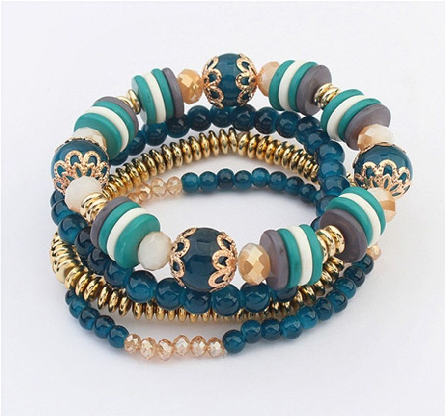 Neworldline Women Multilayer Beads Bangle Bracelets -Green