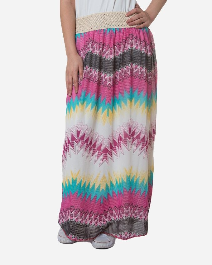 Andora Maxi Printed Skirt - Purple