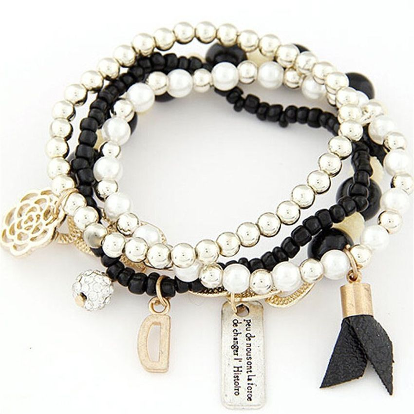 Neworldline 4PCS/Set Women Multilayer Acrylic Beads Bangle Bracelets Beach -Black