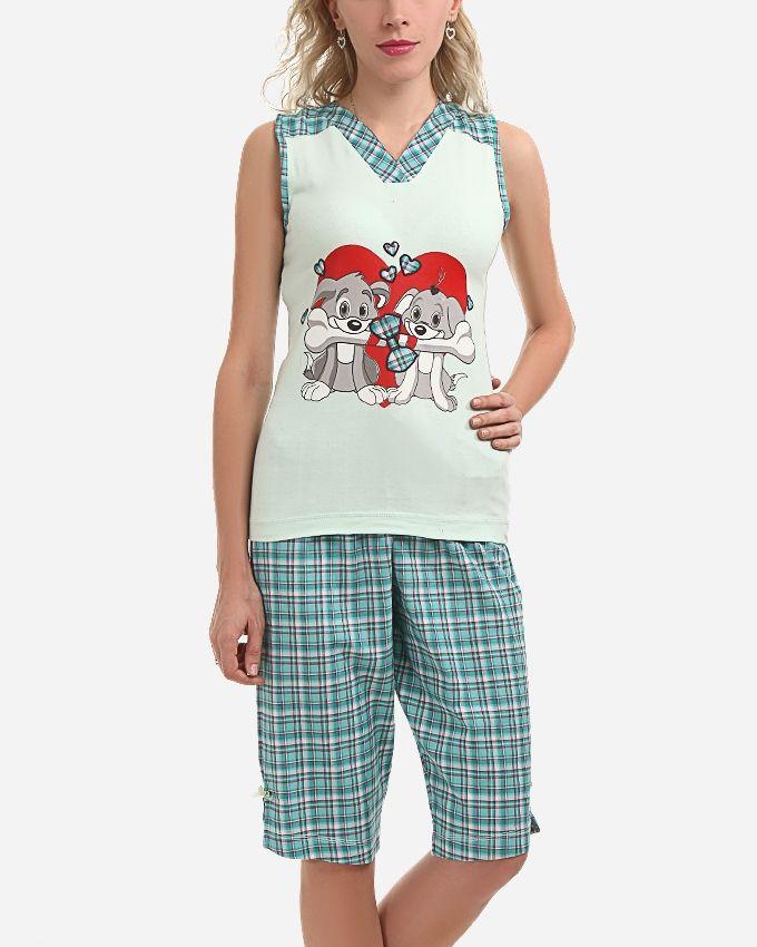 "Andora ""Puppy in Love"" Pajamas Pants - Light Green"