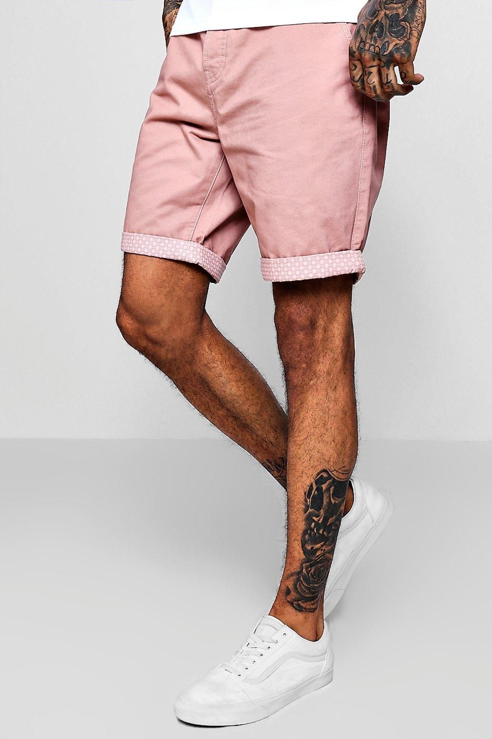 c033493c80aa Boohoo Skinny Fit Chino With Printed Turn Up | Shorts | kanbkam.com