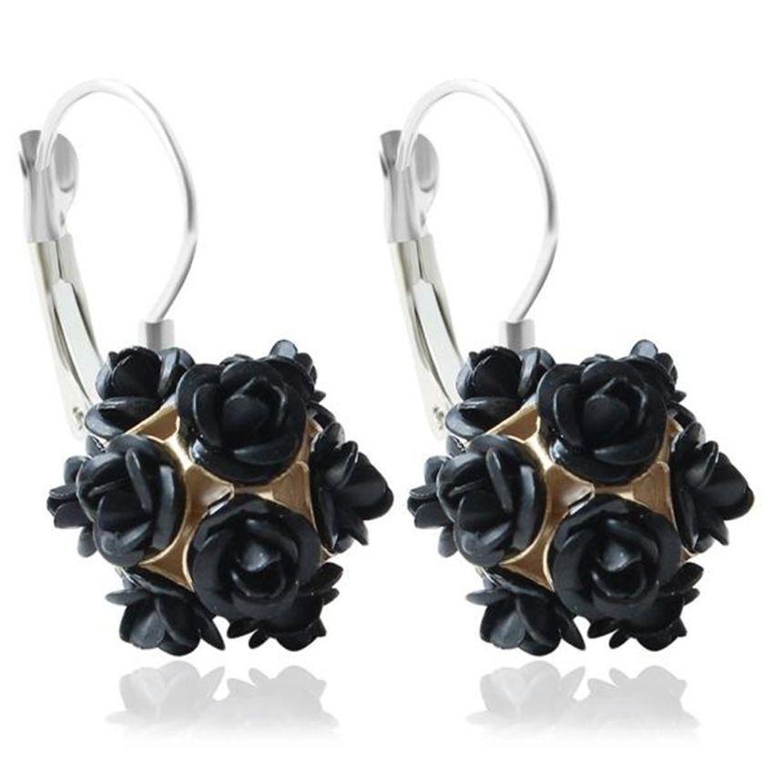 Neworldline New  Fashion Flower Rose Women Girls Crystal Stud Earrings Gift BK-Black