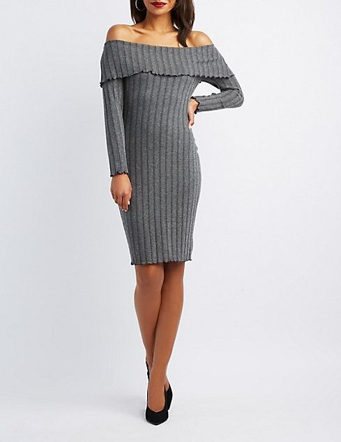 65ea8315842 Charlotte Russe Ribbed Knit Off-The-Shoulder Bodycon Dress Price in ...