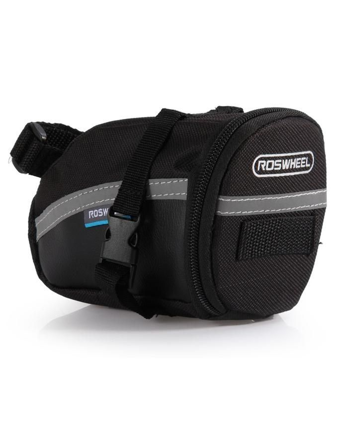 Roswheel Outdoor Bike Saddle Bag Seat Tail Pouch With Velcro Strap - Black