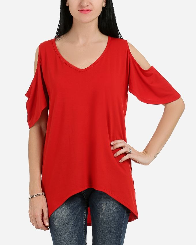 Andora Solid Strapless Tunic- Red