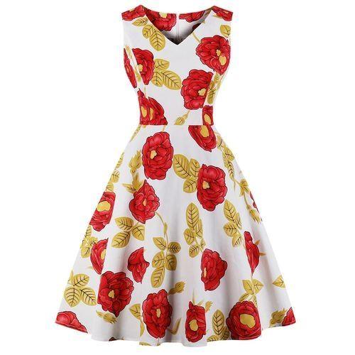 f35ea1070a5 Zaful Hepburn Vintage Sleeveless Women Dress - Yellow