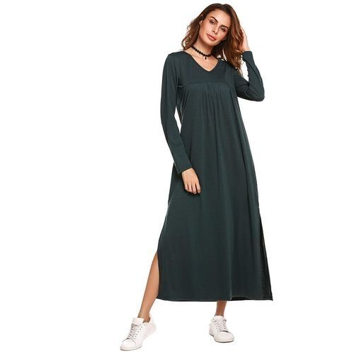 aa611531fa Sunshine Women V-Neck Long Sleeve Split Solid Casual Loose Fit Maxi Tent  Dress-Army Green