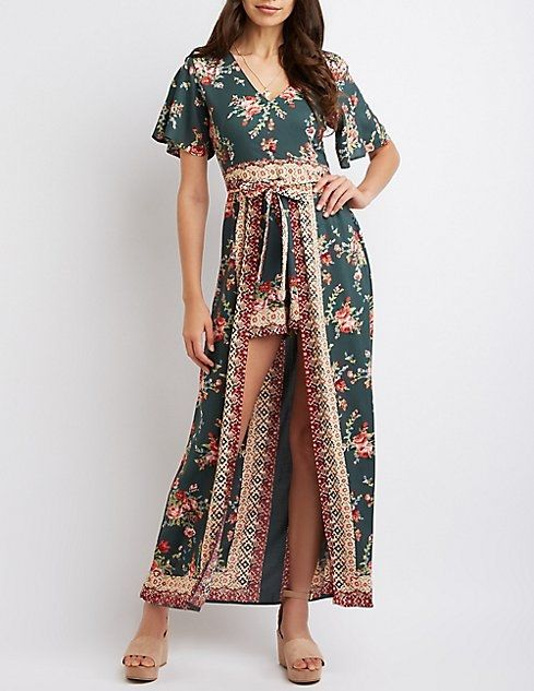 afbfd6fbb84 Buy Charlotte Russe V-Neck Layered Maxi Romper in Egypt