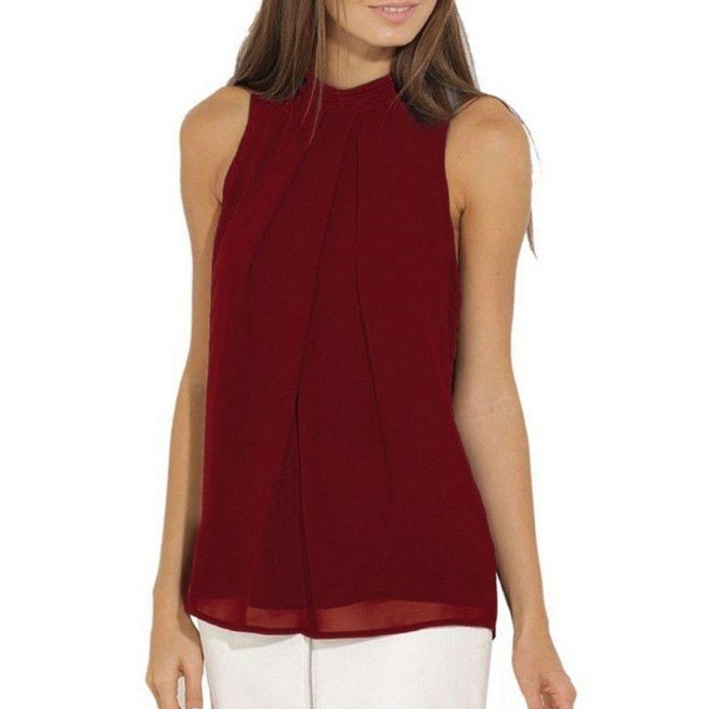 ef2e1236782f1a Buy Generic Generic Women Casual Chiffon Blouse Sleeveless Shirt T-shirt  Summer Blouse Tops A1