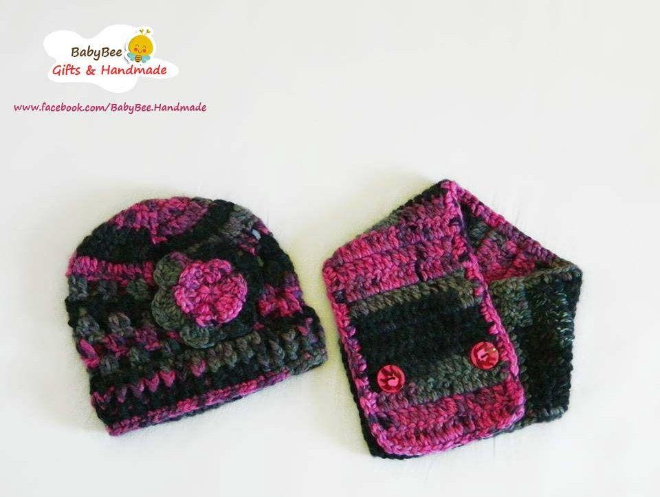 Babybee Handmade Girly Set ( neck scarf + Hat ) - Wool - Pink  5c71b0378d95