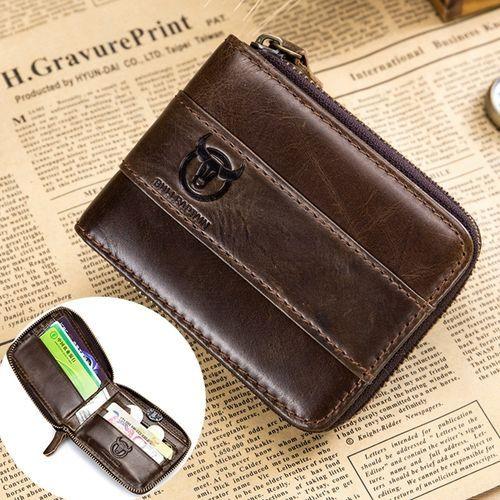 Universal Bullcaptain RFID Antimagnetic Vintage Genuine Leather 11 Card Slots Coin Bag Wallet For Men