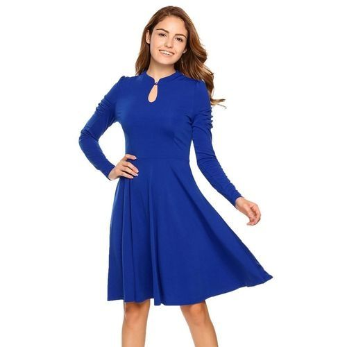 2493a6312 Sunshine Women Fashion V-Neck Long Sleeve Solid A-Line Dress-Dark Blue