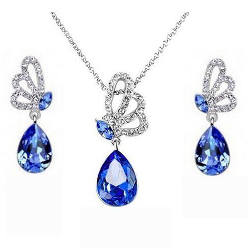 Bluelans Women's Butterfly Crystal Pendant Necklace Drop Earrings Jewelry Set Sapphire Blue