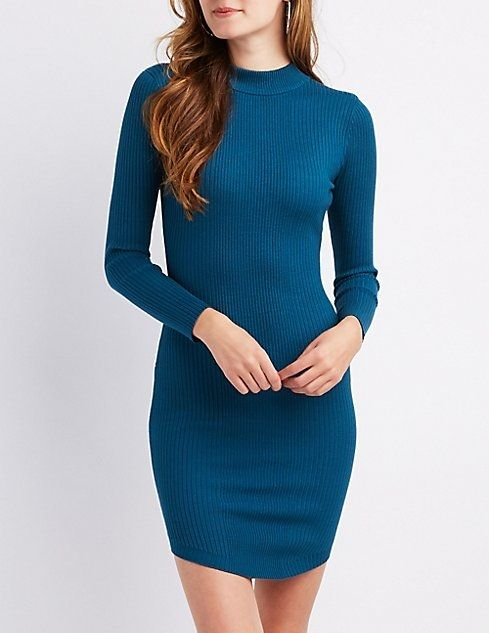 a73df1f49e7 Charlotte Russe Ribbed Mock Neck Bodycon Sweater Dress. updating Prices