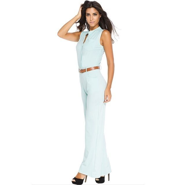 0926a0b1717 Generic S-2XL Plus Size Large Casual Belted Wide Leg Full Length Women  Jumpsuit Jumpsuits Rompers -light Green