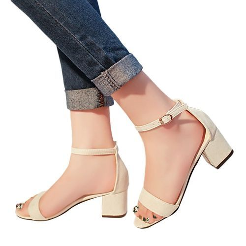 17a3393a907 Fashion WOMENS BLOCK HEELS ANKLE STRAP SANDALS LADIES PEEP TOE STRAPPY PARTY  SHOES SIZE