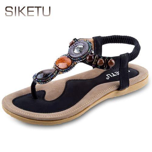 65f97e8a0e38b3 Buy Siketu SIKETU Ladies Bohemia Rhinestone Design Slip On Beach Flip-flop  Sandals in Egypt