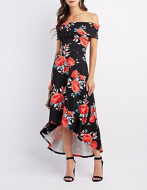 adc2cb8741 Charlotte Russe Floral Off-The-Shoulder High-Low Maxi Dress ...