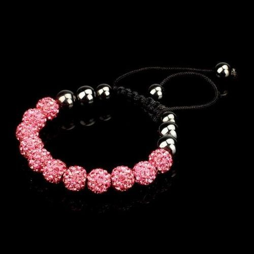 Generic Crystal Ball Bead Friendship Adjustale Bracelet RD+