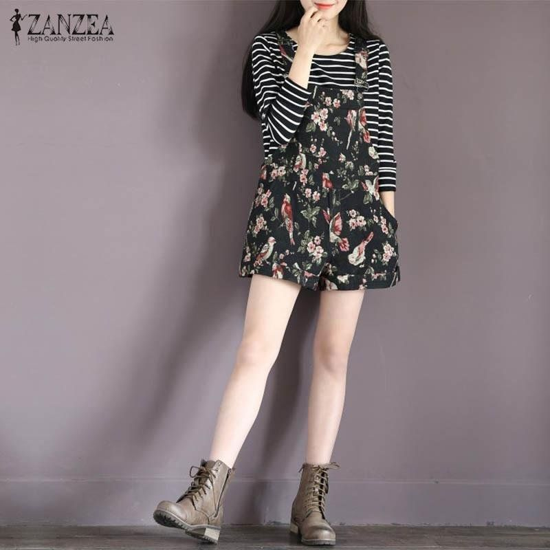 9772c8f083 Fashion ZANZEA Summer Rompers Womens Jumpsuit Vintage Print ...