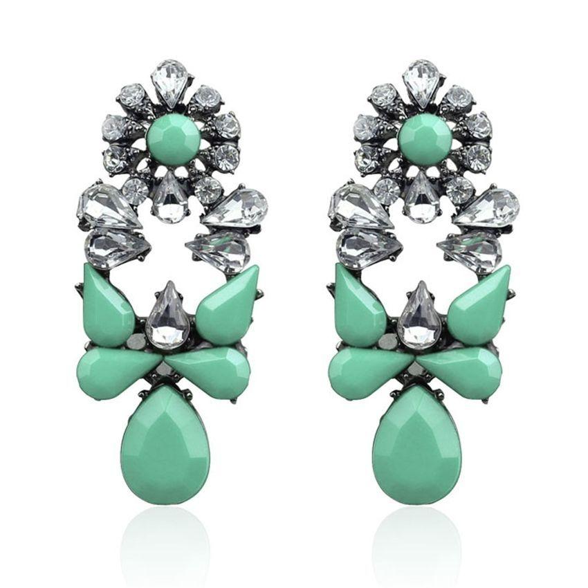 Neworldline Hot Jewelry Bohemian Luxurious Crystal Flower Earring Stud Light Blue- Light Blue