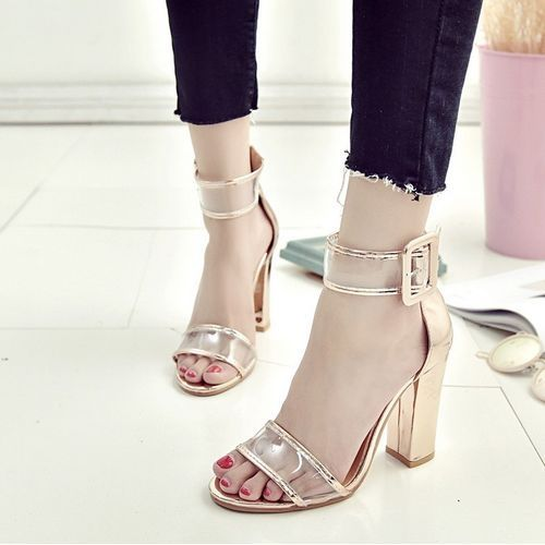 544aef9c820 Znu Women High Heel Strap Ankle Block Sandals Open Toe Party Dress Sandal Pumps  Shoe
