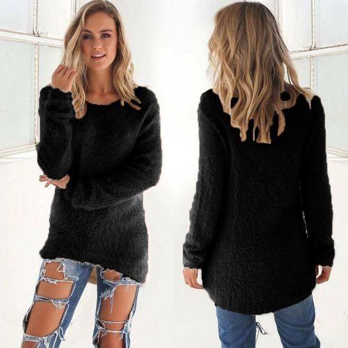 6b5374cd0 Glorystar Fashion Women Casual Tops Mohair Blend Fuzzy Blouse Pullover  Jumper Loose Sweater Knitwear-black