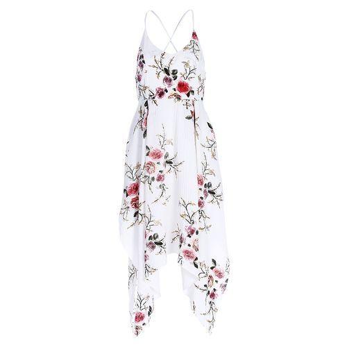 64e716c62ca Fashion Women Vintage Spaghetti Strap Backless Floral Print Handkerchief  Dress - White