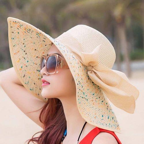 dd61b14a674da Fashion Elegant Fashion Seaside Sun Visor Hat Female Summer Sun Hats For Women  Large Brim Straw Sun Hat Folding Beach Girls Bgige
