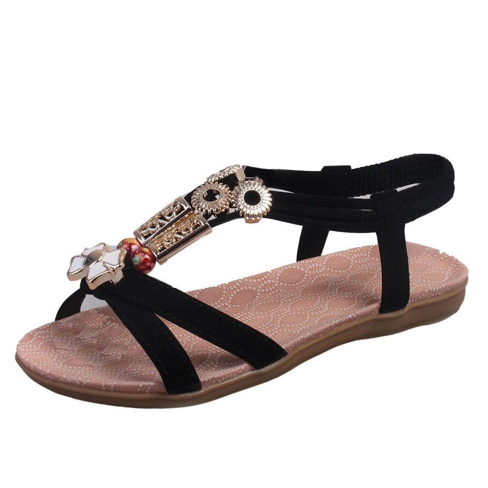 addc3c3d596726 Buy Neworldline Fashion Women Boho Sandals Leather Flat Sandals Ladies Shoes-  Black (EU Sizing