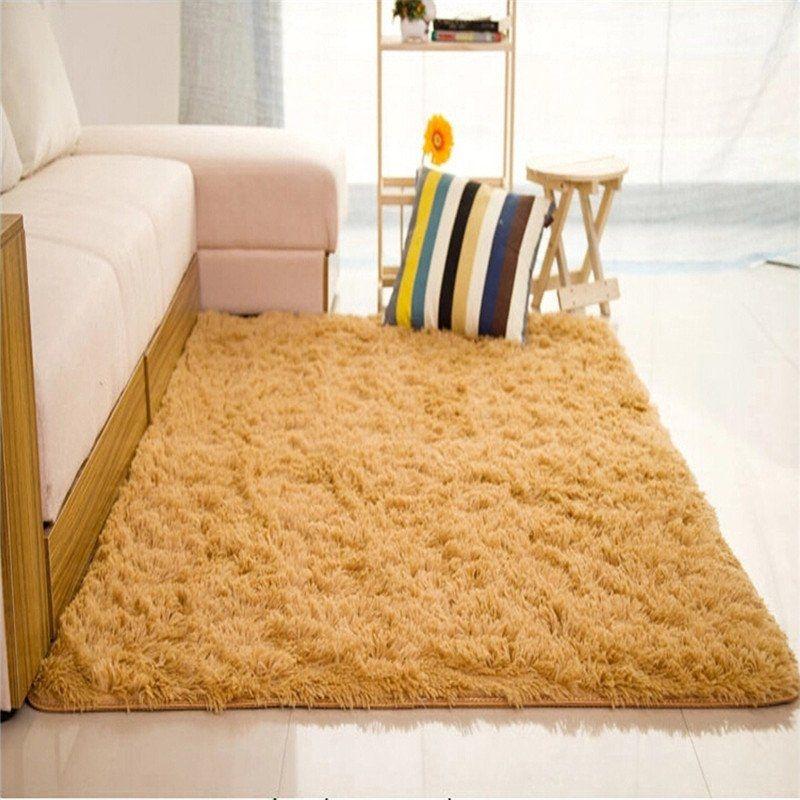 Universal Shaggy Anti-skid Carpets Rugs Floor Mat/Cover 80x120cm (Khaki)