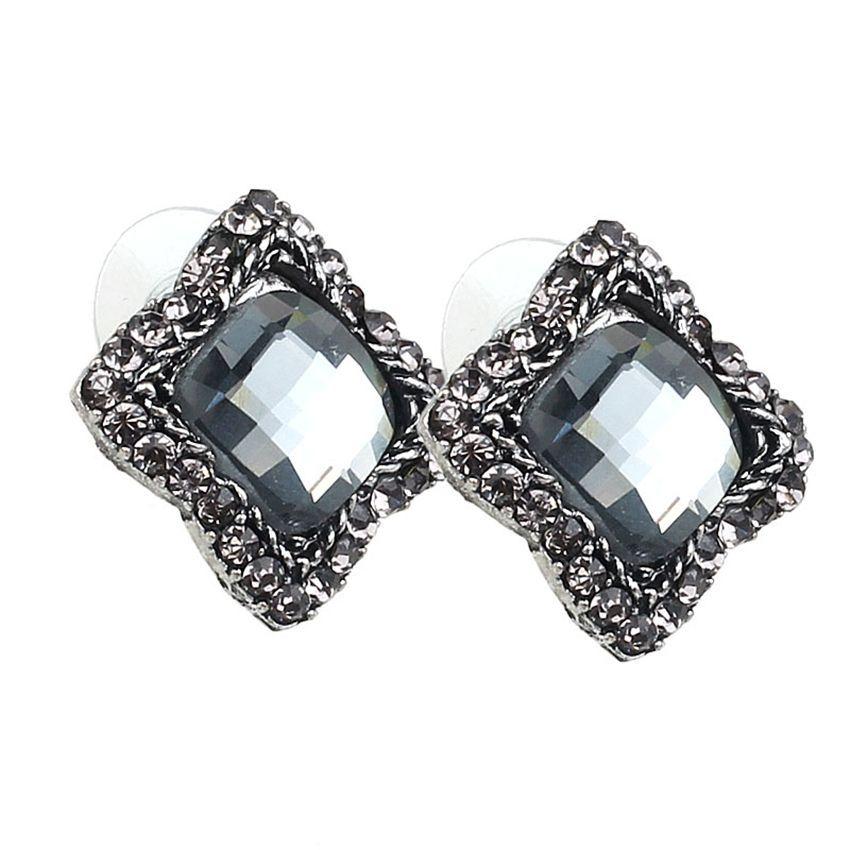 Neworldline 1 Pair Womens Luxury Elegant  Gray Rhinestone Ear Stud Earrings Jewelry-Black
