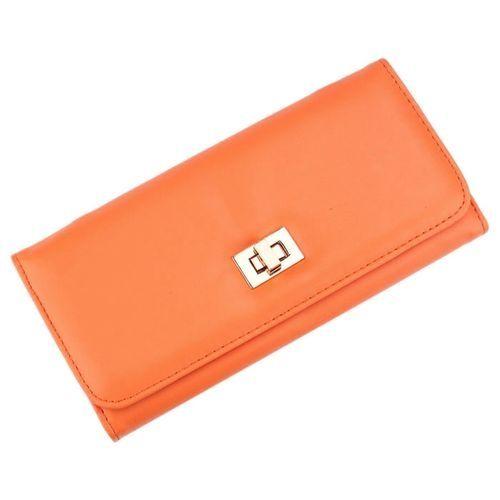 Neworldline Lady Long Cross Clutch Purse Handbag Card Holder Simple Wallet Orange-Orange