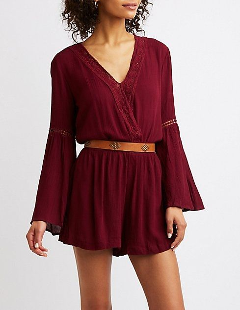 07e8c5f8d74a Charlotte Russe Crochet Bell Sleeve Romper. updating Prices