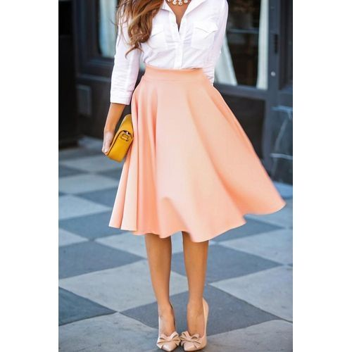 b093eca65 Fashion YOINS New Fashion Women Solid High Waist Pleated A-line Midi Skirt  Lady Vintage Office Casual Ball Gown Skater. updating Prices