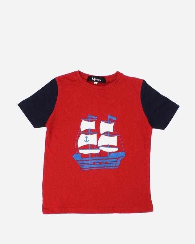 """Andora """"BOAT'' Printed T-Shirt - Red"""