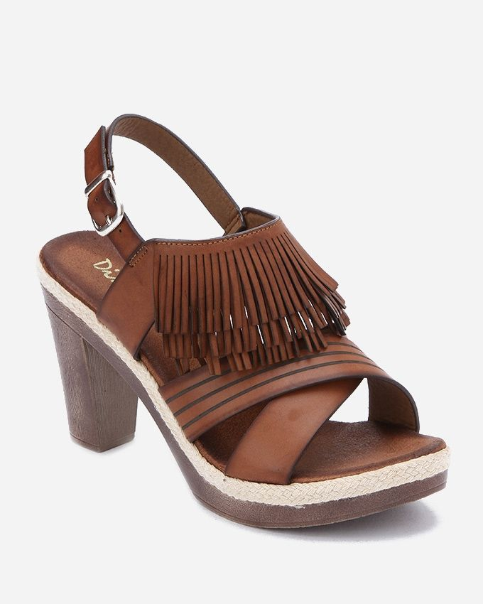 Spring Fringed Leather Sandals - Light Brown