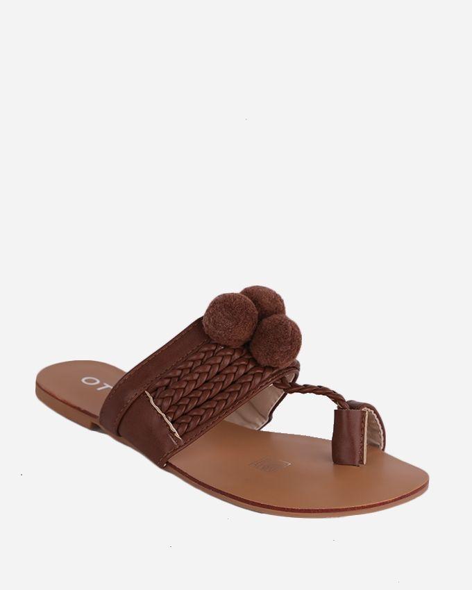 Joelle Pom Pom Fingered Sandals - Dark Brown