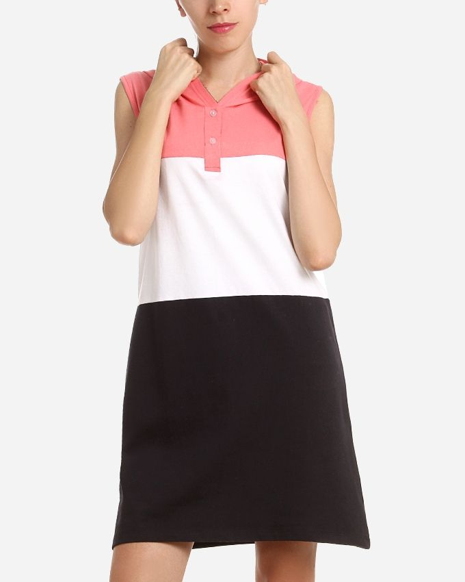 Andora Tri-Tone Hooded Neck Night Gown – Rose, White & Black