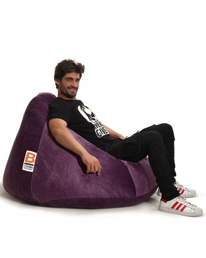 Marvelous Bomba Cono Velvet Bean Bag Purple Xlarge Machost Co Dining Chair Design Ideas Machostcouk
