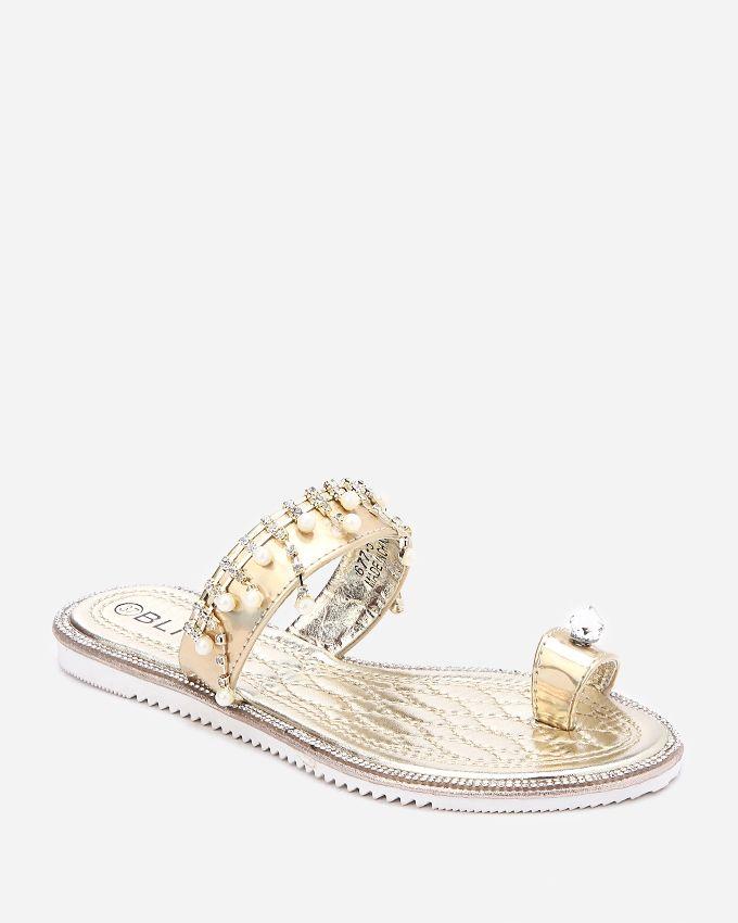 Spring Toe Thong Slipper - Gold