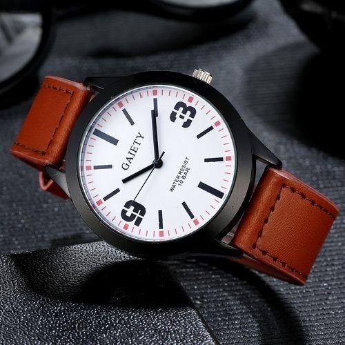 GAIETY Blicool Wrist Watch Men Leather Band Analog Quartz Round Wrist Watch Watches Brown-Brown