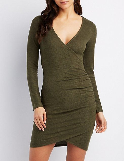 3a30ce286fc5a Charlotte Russe Ruched Surplice Hacci Bodycon Dress Price in Egypt ...