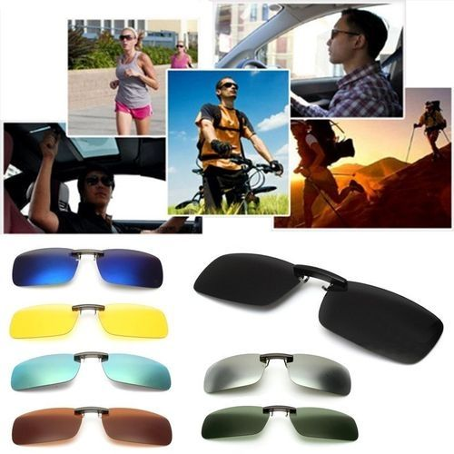 40cc3d7d31ce9 Fashion Driving Polarized UV 400 Lens Clip-on Flip-up Sunglasses Glasses  Black+Grey