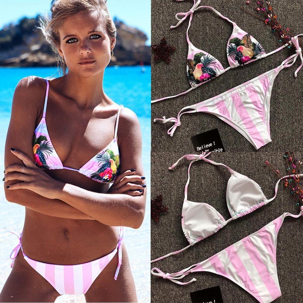 935c7f668e Generic Tectores Womens Sexy Swimwear Push Up Print Bandage Bikini ...
