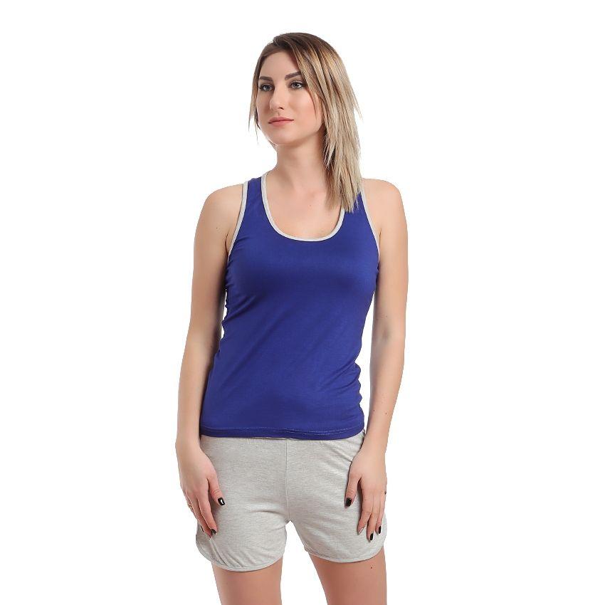83b33b15a5a3 No Brand Pajama Cotton Hot Short - Grey   Blue