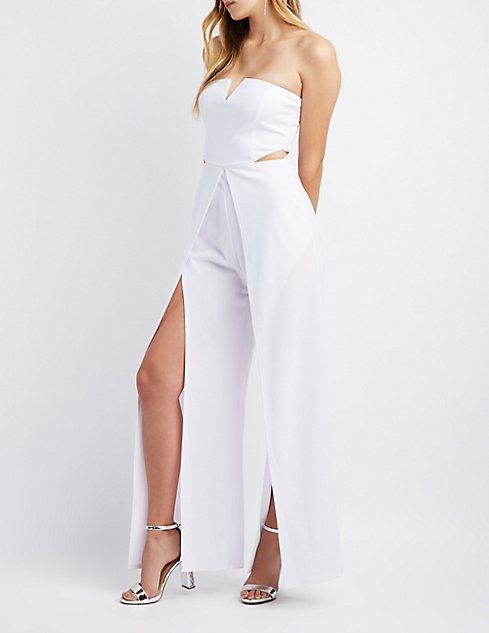 37f827fcf425 Charlotte Russe Notched Cut-Out Split Leg Jumpsuit Price in Egypt ...