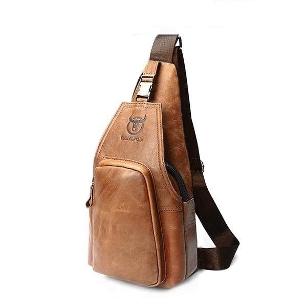 4728579347 Fashion BULLCAPTAIN Genuine Leather Business Casual Chest Bag Crossbody Bag  For Men