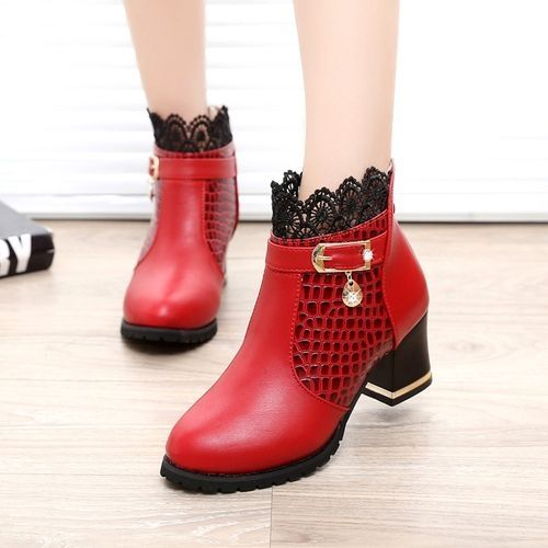 9716ddc916 Buy Neworldline Zip Women Boots Thick Heel Platform Shoes Buckle Sexy  Riding Ankle Boots RD/