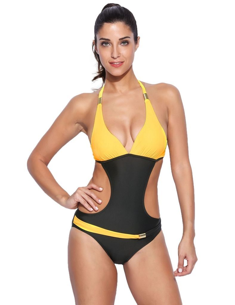 74e9703a540ba Sunshine Sexy One Piece Contrast Color Backless Swimsuit Swimwear-Yellow